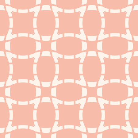 Grid texture. Vector abstract geometric seamless pattern with curved lines, square grid, net, mesh, rounded shapes. Cute white and pink background. Repeatable design for decor, wallpapers, textile