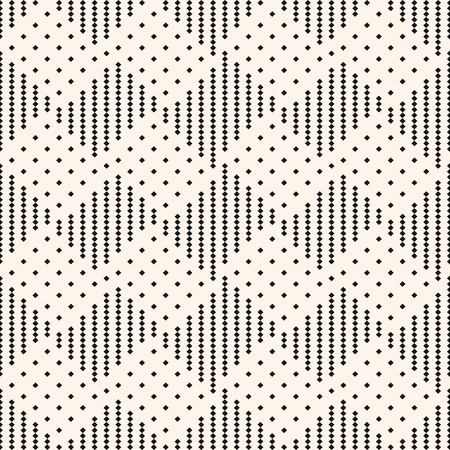 Vector geometric checkered seamless pattern. Black and white ornament with tiny squares. Texture of plaid, tartan, gingham. Ethnic tribal style graphic background. Abstract repeat decorative design