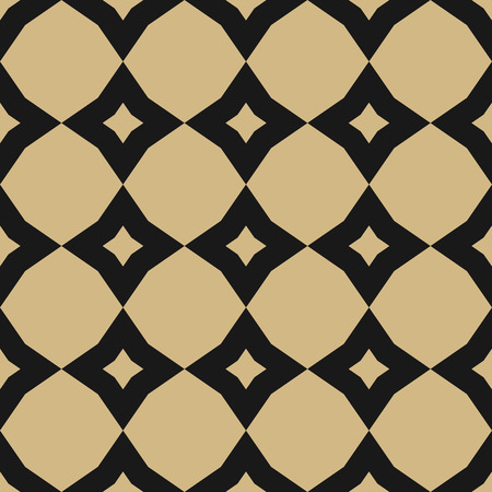 Diamond pattern. Vector golden abstract seamless texture. Black and gold geometric ornament with rhombuses, flower silhouettes, stars, grid, net, repeat tiles. Repeatable design for decor, textile