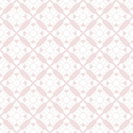 Elegant vector geometric seamless pattern. Abstract texture flower shapes, lace, mesh, repeat tiles. White and light pink ornamental background. Subtle repeatable design for decor, textile, wallpapers Vector Illustratie
