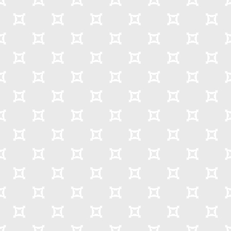 Subtle vector minimalist seamless pattern. Simple geometric texture with outline square shapes, cross figures, repeat tiles. Abstract minimal white and light gray background. Stylish modern design