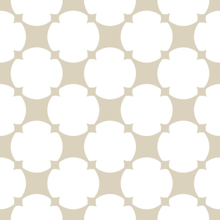 Vector golden ornamental grid pattern. Simple abstract geometric texture in white and beige colors. Illustration of rounded grid, mesh, lattice, net, repeat tiles. Elegant ornament background design