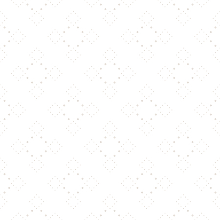 Subtle dotted seamless pattern, delicate vector texture in soft pastel colors, white & beige. Abstract repeat background with tiny circles in square form. Elegant design element for decor, paper, web