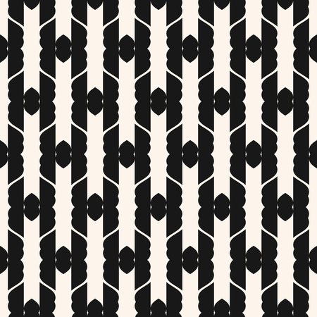 Vector abstract geometric ornament seamless pattern. Elegant black and white texture with curved shapes, grid, mesh, lattice, vertical stripes. Monochrome ornamental background. Repeat design element Vettoriali
