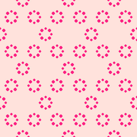 Simple pink floral seamless pattern. Vector abstract background with small circles, flower shapes, dots. Pink and magenta colored texture. Cute repeat design for decor, fabric, wrapping, print, cloth