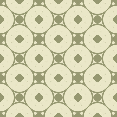 Elegant vintage green geometric seamless pattern with circles, rounded grid, lattice, small elements. Vector abstract ornament texture. Simple minimal colorful background. Retro style repeat design