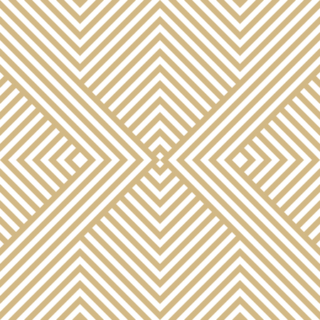 Vector golden geometric lines pattern. Luxury linear background with stripes, diagonal shapes, squares, chevron. Abstract white and gold seamless texture. Modern stylish design for decoration, covers 矢量图像