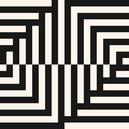 Vector geometric lines pattern. Abstract graphic striped ornament. Simple geometrical black and white stripes, squares. Modern stylish linear background. Creative repeatable design for decor, prints Vecteurs