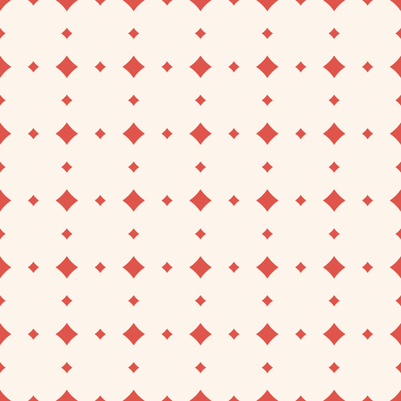 Subtle vector seamless pattern with diamond shapes, stars, rhombuses, squares. Simple geometric background. Abstract red and beige texture, repeat tiles. Elegant vintage ornament. Retro luxury design Ilustrace