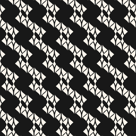 Subtle lace seamless pattern. Abstract black and white geometric background with curved shapes, mesh, net, delicate lattice. Monochrome endless texture. Stylish ornamental design. - Stock vector Standard-Bild - 125143652
