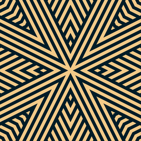 Vector geometric lines seamless pattern. Black and yellow linear background. Abstract ornament texture with stripes, concentric diagonal lines, ribbons, triangular shapes. Repeatable design element