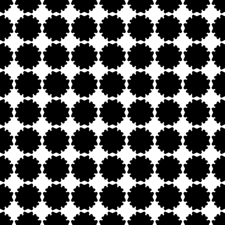 Simple vector monochrome texture, black & white geometric seamless pattern with flat flower silhouettes. Square symmetric illustration. Abstract design element for print, decor, fabric, digital, web