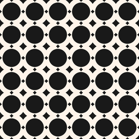 Seamless geometric pattern with simple shapes, circles, squares. Monochrome geometrical ornament. Abstract black and white background texture, repeat tiles. Design for fabric, prints. - Stock vector