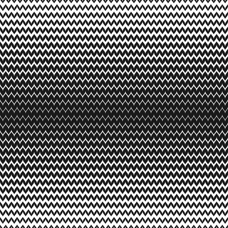 Vector halftone background. Abstract geometric seamless pattern with curved zigzag lines. Black & white horizontal zig zag stripes. Wavy gradient transition effect. Stylish monochrome chevron texture