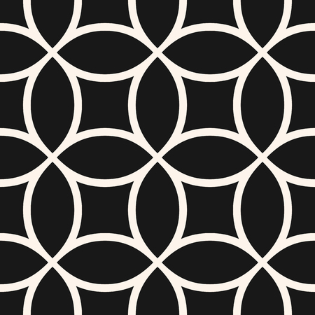 Circular mesh seamless pattern. Vector monochrome texture with curved lines, circles and squares. Simple abstract black and white geometric background, repeat tiles. Rounded grid, lattice, net Stock Illustratie