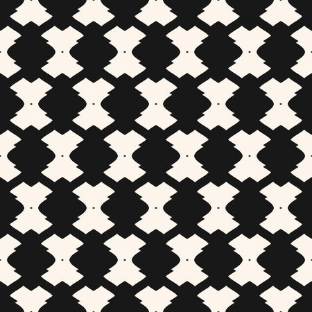 Vector geometric ornament pattern. Black and white seamless texture with curved shapes, lattice, mesh, grid, lace. Abstract monochrome background. Elegant design for decoration, textile, furniture