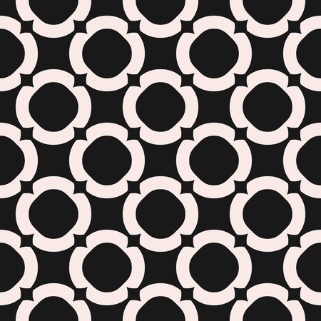 Circles background, vector monochrome texture, abstract geometric seamless pattern with circular lattice. Old style fashion. Symmetric repeat design for tileable print, decor, fabric, cloth, furniture