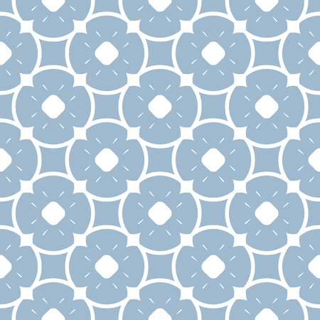 Vector blue floral seamless pattern. Elegant geometric background with flower shapes, rounded grid, lattice, circles, repeat tiles. Abstract ornamental texture in pastel colors. Decorative design