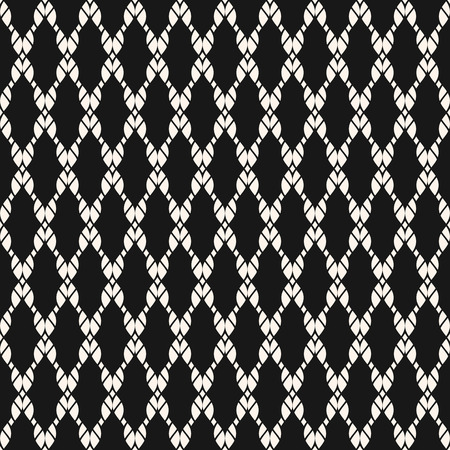 Vector mesh seamless pattern. Black and white nautical texture with fishnet, ropes, knitting, crossing threads, grid, lattice, fabric, net. Abstract geometric monochrome background. Simple dark design