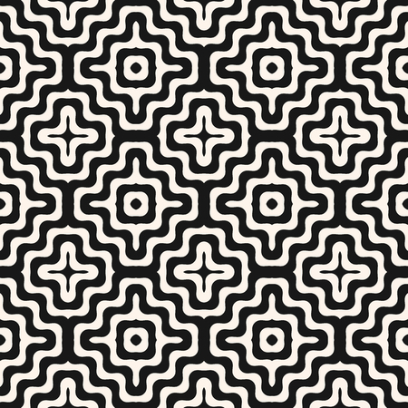 Vector monochrome geometric seamless pattern with concentric wavy lines, stripes, curved shapes. Stylish abstract black and white background. Simple modern repeatable texture. Design for decor, prints  イラスト・ベクター素材