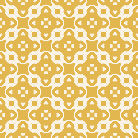 Yellow geometric seamless pattern. Vector abstract texture with floral figures, squares, circles. Elegant background in autumn colors, mustard and beige. Repeat design for decor, prints, fabric, wrap Illustration