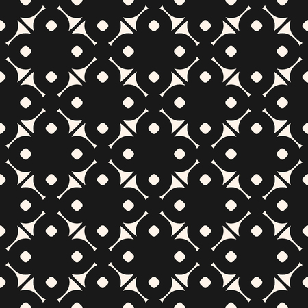 Vector geometric floral ornamental pattern. Abstract seamless black and white texture. Simple monochrome geometrical ornament background, repeat tiles. Dark design for decor, fabric, cloth, package