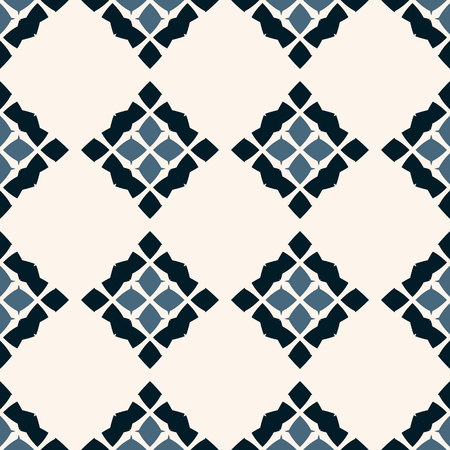 Vector geometric seamless pattern. Traditional folk ornament. Texture with rhombuses, flower silhouettes, diamonds. National ethnic motif. Blue, black and white colors. Repeatable background design