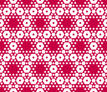 Red and white hexagons texture. Geometric hexagonal seamless pattern. Vector geometrical background with small hex shapes, grid, lattice, net. Elegant abstract ornament. Modern fashionable design