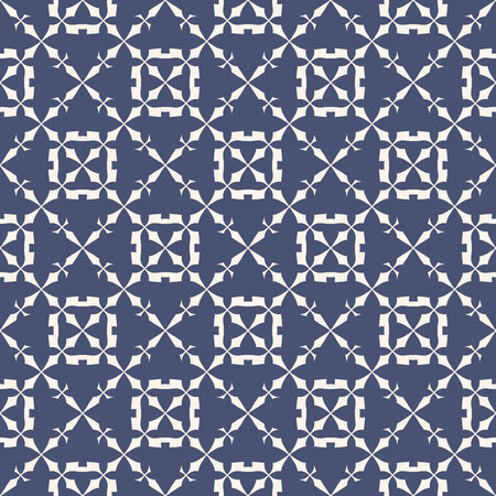 Elegant vector seamless pattern. Abstract decorative geometric texture with crosses, floral shapes, carved grid, lattice, repeat tiles. Delicate ornamental background in navy blue and white colors