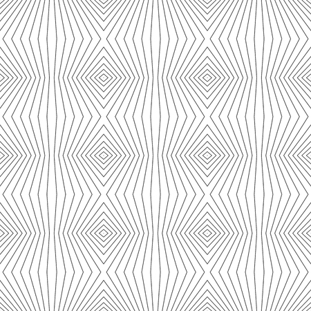 Geometric lines pattern. Vector seamless texture with thin refracted stripes. Abstract monochrome striped background, repeat tiles. Black & white design for decoration, covers, digital, web, wallpaper  イラスト・ベクター素材