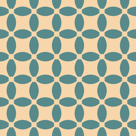 Vector geometric seamless pattern. Abstract mosaic with grid, mesh, net, lattice. Ornamental background in turquoise and tan colors. Repeatable ornament texture. Retro vintage design for decor, cloth