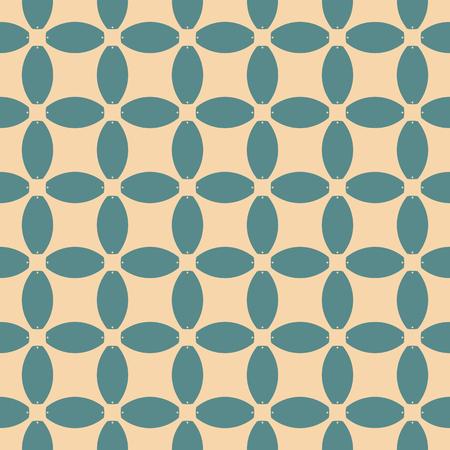 Vector geometrische naadloze patroon. Abstract mozaïek met raster, mesh, net, rooster. Sierachtergrond in turkoois en tan kleuren. Herhaalbare ornament textuur. Retro vintage ontwerp voor decor, doek