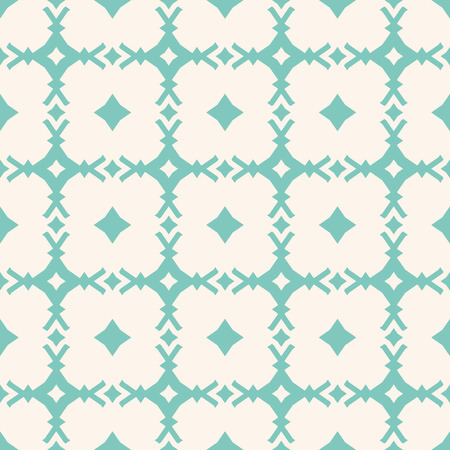Turquoise geometric seamless pattern. Vector abstract ornamental texture with diamond shapes, rhombuses, carved square grid, lattice. Elegant repeat background in pastel colors, green aqua and beige