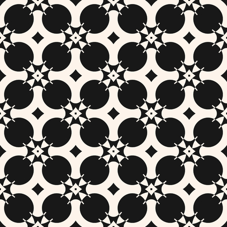 Vector ornamental geometric seamless pattern. Simple figures, circles, crosses, stars, floral shapes. Black and white texture. Abstract monochrome background. Design for decor, fabric, prints, covers Ilustrace