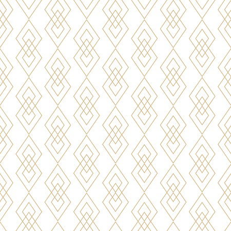 Vector golden lines texture. Luxury geometric seamless pattern with diamonds, rhombuses, thin crossing lines. Abstract white and gold graphic ornament. Art deco style. Trendy linear repeat background