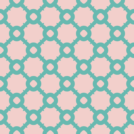 Cute colorful vector seamless pattern. Abstract geometric texture with carved grid, circles, squares, rings. Pink and turquoise colors. Simple repeat background. Design for decor, fabric, print, cover