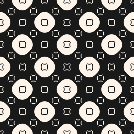 Vector seamless pattern, funky style, smooth geometric shapes, circles, squares. Abstract monochrome geometrical texture. Dark stylish background, repeat tiles. Design for prints, decor, covers, web