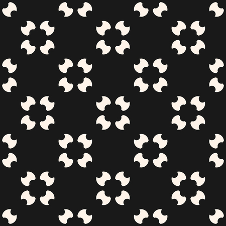 Simple seamless pattern with rounded figures, floral shapes, carved circles and spots. Stylish monochrome geometric background. Abstract minimalist black and white ornament. Repeat design for decor