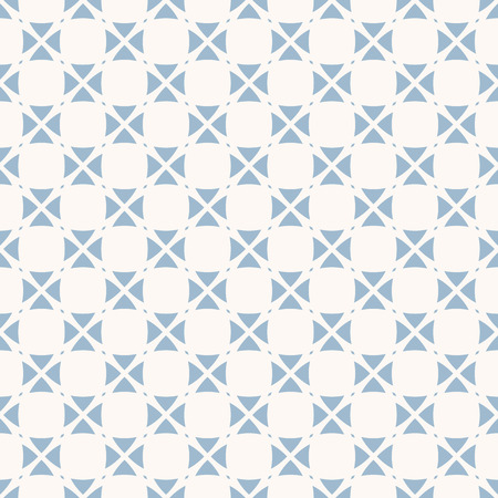 Vector abstract geometric seamless pattern with small floral shapes, crosses, triangles, repeat tiles. Soft blue and white ornament. Elegant background design for decor, textile, linens, cloth, print