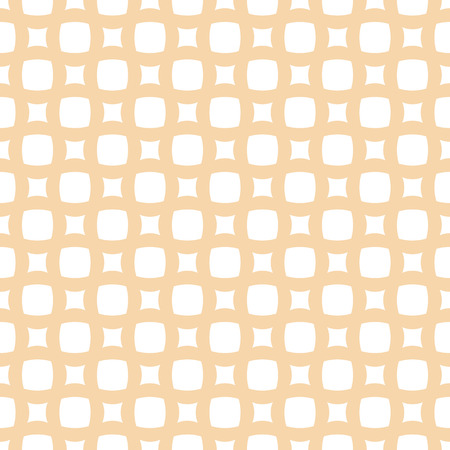 Vector geometric wicker seamless pattern. Simple ornament with grid, mesh, net, weave, lattice, rounded shapes, small circles, squares. Abstract white and yellow background. Natural organic style