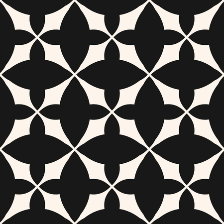 Vector seamless pattern with grid, rounded shapes, crosses, repeat tiles. Black and white abstract geometric texture. Elegant monochrome ornamental background. Design for prints, textile, ceramic