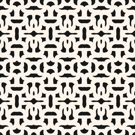 Abstract seamless geometric pattern. Vector monochrome background with curved shapes, mesh, weave, repeat tiles. Black and white graphic texture. Design for decor, fabric, textile, print, embossing