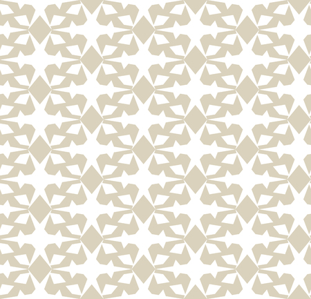 Golden vector geometric seamless pattern. Elegant ornament in gold and white colors. Abstract background texture with crosses, rhombuses, small elements, grid. Design for decoration, fabric, print
