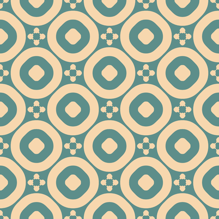 Vector ornamental floral seamless pattern. Vintage geometric background with small flower figures, circles, round grid, mesh, repeat tiles. Texture in muted colors, tan and teal. Repeatable design