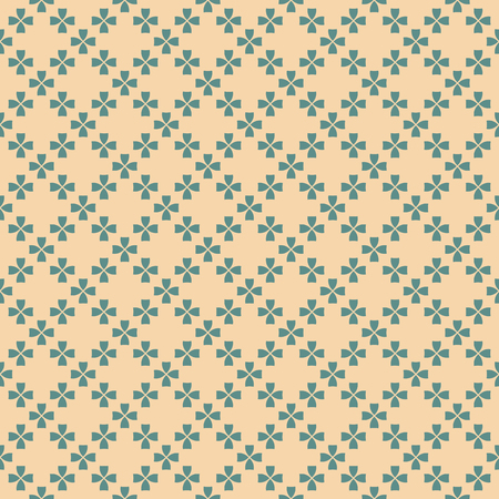 Vector geometric floral seamless pattern in tan and teal colors. Retro vintage style ornament. Abstract background texture with small flowers. Elegant design for decor, textile, clothing, wrapping
