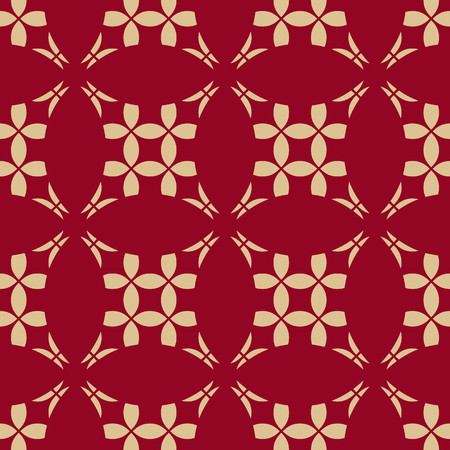 Red and gold vector geometric pattern. Abstract seamless background with carved grid, floral shapes, rounded mesh, net, lattice, repeat tiles. Elegant texture in traditional Asian style. Luxury design