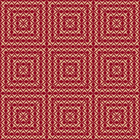 Luxury red and gold vector seamless pattern. Abstract background with square tiles, concentric wavy lines, curved shapes, delicate mesh, grid, net, lace. Elegant ornamental texture. Repeat design