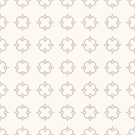 Vector ornament seamless pattern in Arabian style. Elegant damask texture with simple geometric floral shapes, curved lines. Subtle abstract background in pastel colors, brown and beige. Repeat design