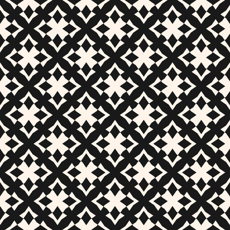 Ornamental geometric seamless pattern. Vector abstract background. Black and white ornament with cross shapes, rhombuses, repeat tiles. Traditional folk motif. Elegant monochrome texture design Standard-Bild - 124654493