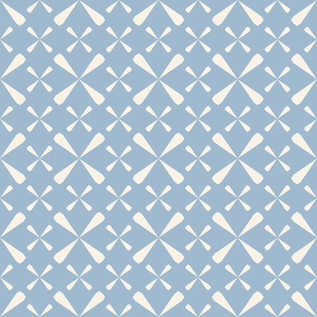 Vector geometric vintage seamless pattern. Abstract texture in pastel colors, soft blue and white. Elegant background with floral shapes, crosses, repeat tiles. Design for decoration, prints, textile Standard-Bild - 124654494